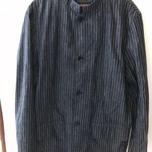 John Varvatos pinstriped long Denim Jacket
